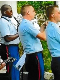 (l to r) Doug Maher, guitar; MUCS Cedric Mayfield, clarinet; MU1 Thomas Brown, trumpet; and MUC Sean Nelson, trombone.